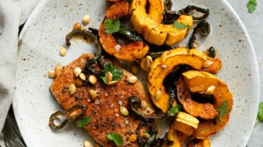 oven baked pork chops with delicata squash